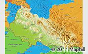 Physical Map of Zakarpats'ka, political outside