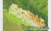 Physical Map of Zakarpats'ka, satellite outside