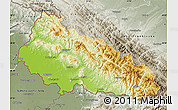 Physical Map of Zakarpats'ka, semi-desaturated