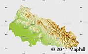 Physical Map of Zakarpats'ka, single color outside