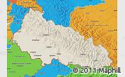 Shaded Relief Map of Zakarpats'ka, political outside