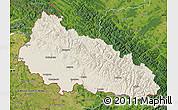 Shaded Relief Map of Zakarpats'ka, satellite outside