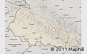 Shaded Relief Map of Zakarpats'ka, semi-desaturated