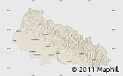 Shaded Relief Map of Zakarpats'ka, single color outside