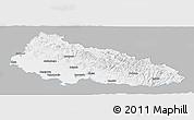 Gray Panoramic Map of Zakarpats'ka, single color outside