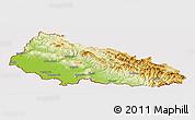 Physical Panoramic Map of Zakarpats'ka, cropped outside