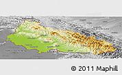 Physical Panoramic Map of Zakarpats'ka, desaturated