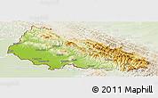 Physical Panoramic Map of Zakarpats'ka, lighten