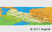 Physical Panoramic Map of Zakarpats'ka, political outside