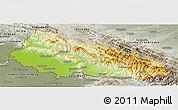 Physical Panoramic Map of Zakarpats'ka, semi-desaturated