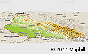 Physical Panoramic Map of Zakarpats'ka, shaded relief outside