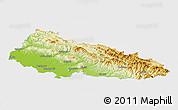 Physical Panoramic Map of Zakarpats'ka, single color outside