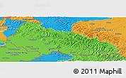 Political Panoramic Map of Zakarpats'ka