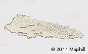 Shaded Relief Panoramic Map of Zakarpats'ka, cropped outside