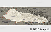 Shaded Relief Panoramic Map of Zakarpats'ka, darken