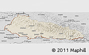 Shaded Relief Panoramic Map of Zakarpats'ka, desaturated
