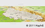 Shaded Relief Panoramic Map of Zakarpats'ka, physical outside