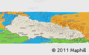 Shaded Relief Panoramic Map of Zakarpats'ka, political outside