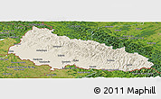 Shaded Relief Panoramic Map of Zakarpats'ka, satellite outside