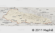 Shaded Relief Panoramic Map of Zakarpats'ka, semi-desaturated