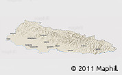 Shaded Relief Panoramic Map of Zakarpats'ka, single color outside