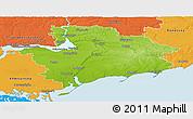 Physical Panoramic Map of Zaporiz'ka, political outside