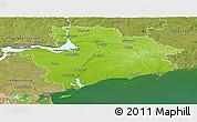 Physical Panoramic Map of Zaporiz'ka, satellite outside