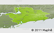 Physical Panoramic Map of Zaporiz'ka, semi-desaturated