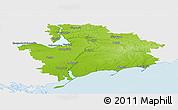 Physical Panoramic Map of Zaporiz'ka, single color outside