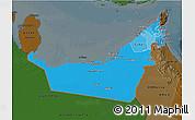 Political Shades 3D Map of United Arab Emirates, darken
