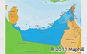 Political Shades 3D Map of United Arab Emirates