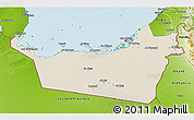 Shaded Relief 3D Map of Abu Dhabi, physical outside