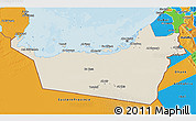 Shaded Relief 3D Map of Abu Dhabi, political outside