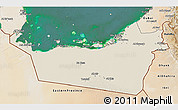 Shaded Relief 3D Map of Abu Dhabi, satellite outside