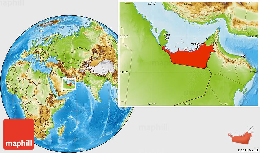 Physical Location Map of Abu Dhabi – Abu Dhabi Location Map