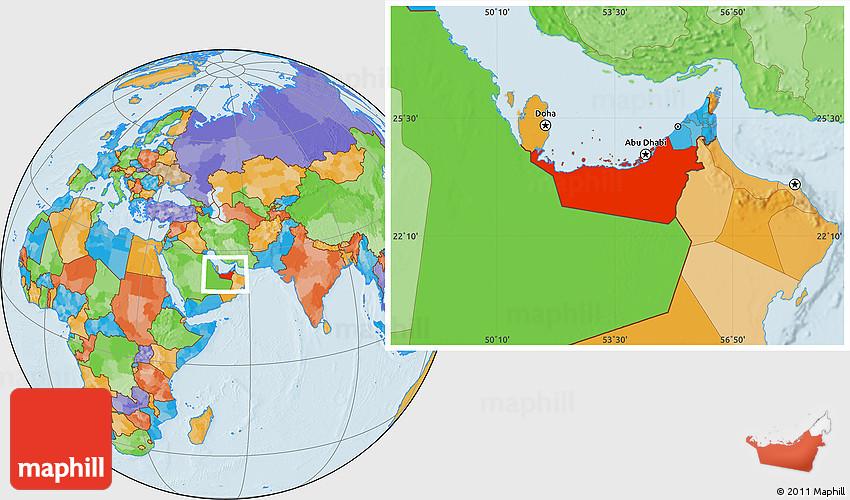 Political Location Map of Abu Dhabi