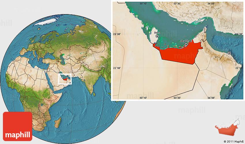 Satellite Location Map of Abu Dhabi – Abu Dhabi Location Map