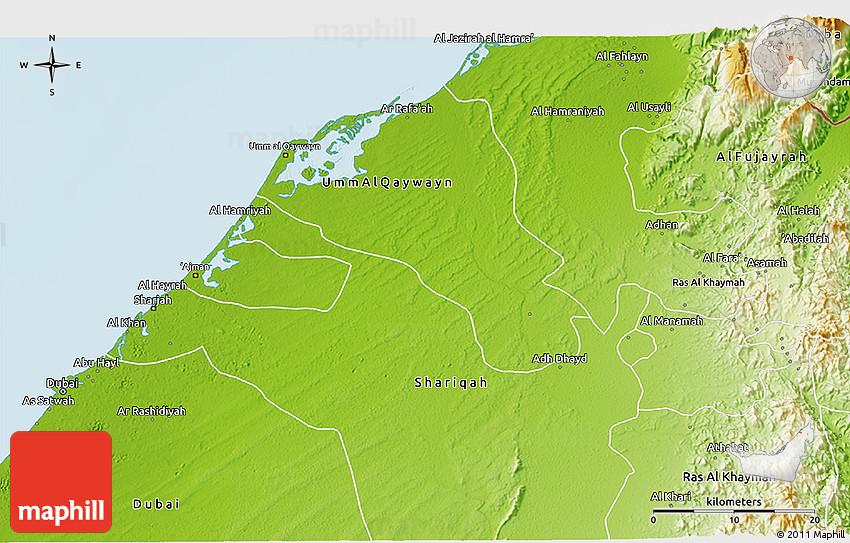 Physical 3D Map of Ajman