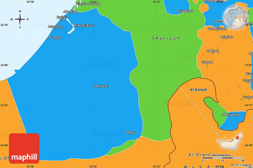 Political Simple Map of Dubai