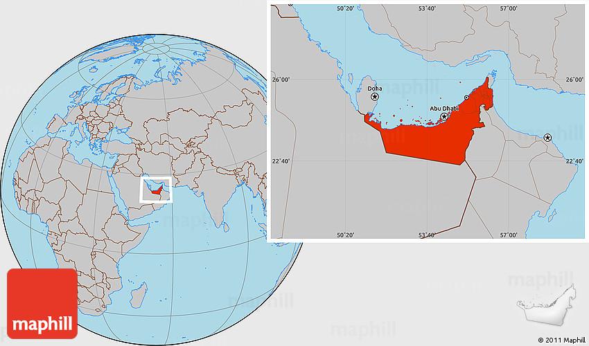 gray location map of united arab emirates. Black Bedroom Furniture Sets. Home Design Ideas