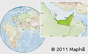 Physical Location Map of United Arab Emirates, lighten