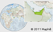 Physical Location Map of United Arab Emirates, lighten, semi-desaturated