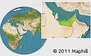 Physical Location Map of United Arab Emirates, satellite outside