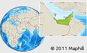 Physical Location Map of United Arab Emirates, shaded relief outside