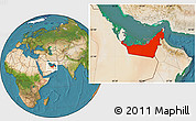 Satellite Location Map of United Arab Emirates