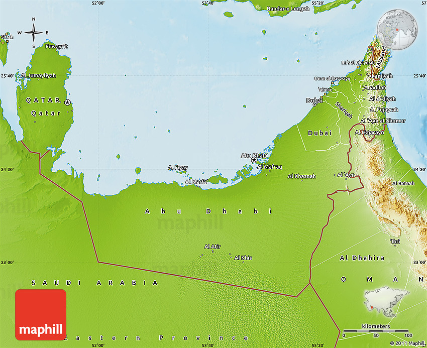 Physical Map of United Arab Emirates