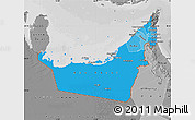 Political Shades Map of United Arab Emirates, desaturated
