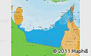 Political Shades Map of United Arab Emirates