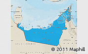Political Shades Map of United Arab Emirates, shaded relief outside, bathymetry sea