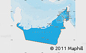 Political Shades Map of United Arab Emirates, single color outside
